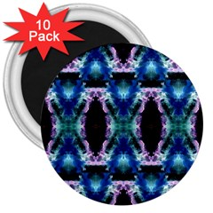 Blue, Light Blue, Metallic Diamond Pattern 3  Magnets (10 Pack)  by Costasonlineshop