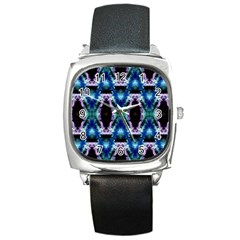 Blue, Light Blue, Metallic Diamond Pattern Square Metal Watches