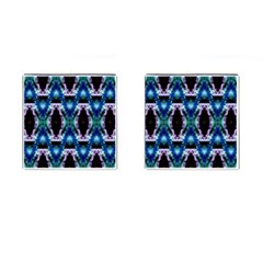 Blue, Light Blue, Metallic Diamond Pattern Cufflinks (Square) by Costasonlineshop