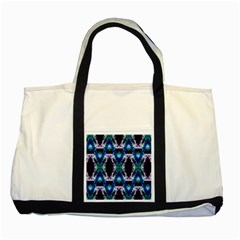 Blue, Light Blue, Metallic Diamond Pattern Two Tone Tote Bag
