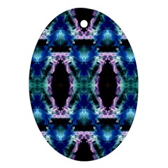 Blue, Light Blue, Metallic Diamond Pattern Oval Ornament (two Sides)