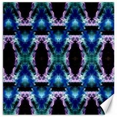 Blue, Light Blue, Metallic Diamond Pattern Canvas 12  X 12   by Costasonlineshop