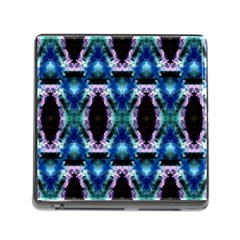 Blue, Light Blue, Metallic Diamond Pattern Memory Card Reader (square) by Costasonlineshop