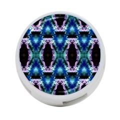 Blue, Light Blue, Metallic Diamond Pattern 4 Port Usb Hub (one Side)