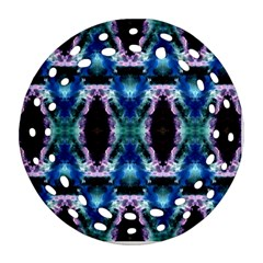 Blue, Light Blue, Metallic Diamond Pattern Ornament (round Filigree)