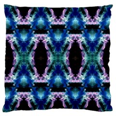 Blue, Light Blue, Metallic Diamond Pattern Large Cushion Cases (one Side)  by Costasonlineshop