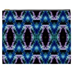 Blue, Light Blue, Metallic Diamond Pattern Cosmetic Bag (xxxl)