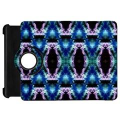 Blue, Light Blue, Metallic Diamond Pattern Kindle Fire Hd Flip 360 Case by Costasonlineshop