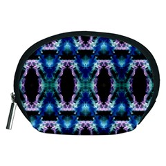 Blue, Light Blue, Metallic Diamond Pattern Accessory Pouches (medium)