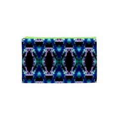 Blue, Light Blue, Metallic Diamond Pattern Cosmetic Bag (xs)