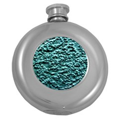 Blue Green  Wall Background Round Hip Flask (5 Oz) by Costasonlineshop