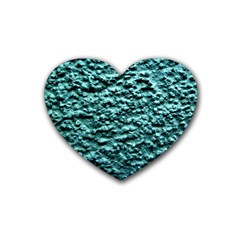 Blue Green  Wall Background Heart Coaster (4 Pack)