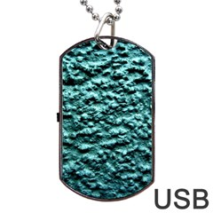 Blue Green  Wall Background Dog Tag Usb Flash (one Side) by Costasonlineshop