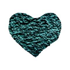 Blue Green  Wall Background Standard 16  Premium Heart Shape Cushions by Costasonlineshop