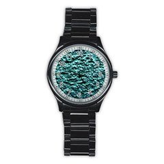 Blue Green  Wall Background Stainless Steel Round Watches by Costasonlineshop
