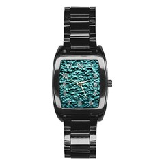 Blue Green  Wall Background Stainless Steel Barrel Watch by Costasonlineshop