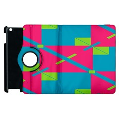 Rectangles And Diagonal Stripes			apple Ipad 2 Flip 360 Case by LalyLauraFLM