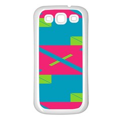 Rectangles And Diagonal Stripes			samsung Galaxy S3 Back Case (white) by LalyLauraFLM