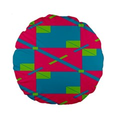 Rectangles And Diagonal Stripes 	standard 15  Premium Flano Round Cushion by LalyLauraFLM
