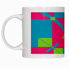 Rectangles And Diagonal Stripes White Mug by LalyLauraFLM