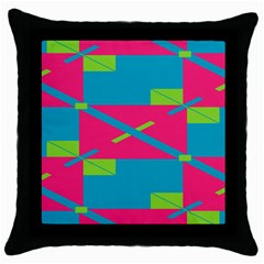 Rectangles And Diagonal Stripesthrow Pillow Case (black) by LalyLauraFLM