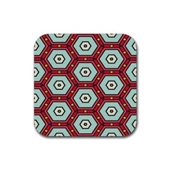 Hexagons Pattern			rubber Square Coaster (4 Pack by LalyLauraFLM