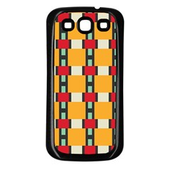 Rectangles And Squares Patternsamsung Galaxy S3 Back Case (black) by LalyLauraFLM