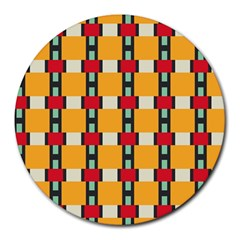 Rectangles And Squares Pattern			round Mousepad by LalyLauraFLM