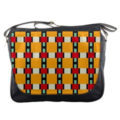Rectangles And Squares Pattern			messenger Bag by LalyLauraFLM