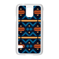 Rhombus  Circles And Waves Pattern			samsung Galaxy S5 Case (white) by LalyLauraFLM