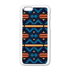 Rhombus  Circles And Waves Pattern			apple Iphone 6/6s White Enamel Case by LalyLauraFLM