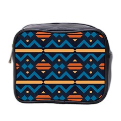 Rhombus  Circles And Waves Pattern Mini Toiletries Bag (two Sides) by LalyLauraFLM