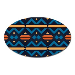 Rhombus  Circles And Waves Patternmagnet (oval) by LalyLauraFLM