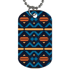 Rhombus  Circles And Waves Pattern			dog Tag (one Side) by LalyLauraFLM
