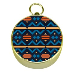 Rhombus  Circles And Waves Patterngold Compass by LalyLauraFLM