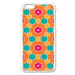 Pink Flowers Pattern			apple Iphone 6 Plus/6s Plus Enamel White Case by LalyLauraFLM