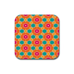 Pink Flowers Pattern			rubber Square Coaster (4 Pack by LalyLauraFLM