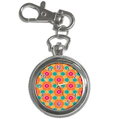 Pink Flowers Patternkey Chain Watch by LalyLauraFLM