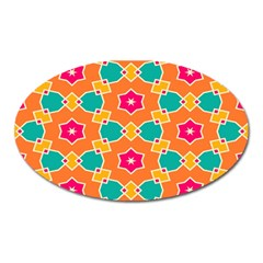 Pink Flowers Patternmagnet (oval) by LalyLauraFLM