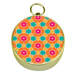 Pink Flowers Pattern			gold Compass by LalyLauraFLM