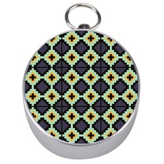 Pixelated Pattern Silver Compass by LalyLauraFLM