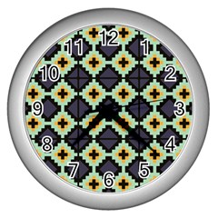 Pixelated Patternwall Clock (silver) by LalyLauraFLM