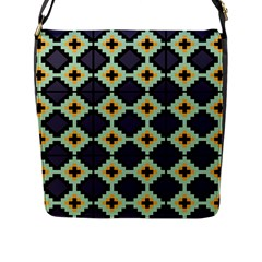 Pixelated Pattern			flap Closure Messenger Bag (l) by LalyLauraFLM
