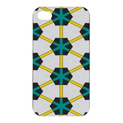 Blue Stars And Honeycomb Pattern			apple Iphone 4/4s Premium Hardshell Case by LalyLauraFLM