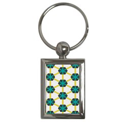 Blue Stars And Honeycomb Pattern			key Chain (rectangle) by LalyLauraFLM