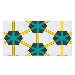Blue Stars And Honeycomb Pattern Satin Shawl by LalyLauraFLM