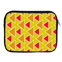 Red Brown Triangles Patternapple Ipad 2/3/4 Zipper Case by LalyLauraFLM