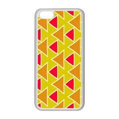 Red Brown Triangles Patternapple Iphone 5c Seamless Case (white) by LalyLauraFLM