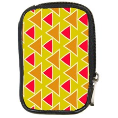 Red Brown Triangles Patterncompact Camera Leather Case by LalyLauraFLM