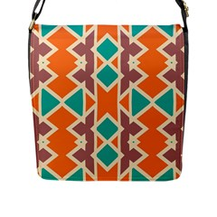 Rhombus Triangles And Other Shapes			flap Closure Messenger Bag (l) by LalyLauraFLM